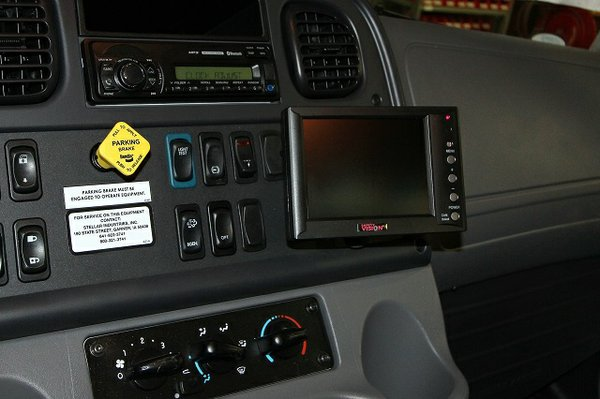 Backup camera is mounted on the dash of a Stellar Industries Inc.